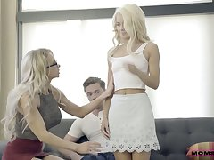 Experienced stepmom Alix Lynx fucks her stepson and his young join in matrimony Elsa Jean