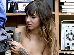 Suspected slender chick Kitty Carrera is fucked by lewd cop relevant on make an issue of table