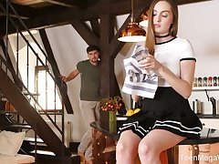 Naughty unspecified in black skirt Lena Reif gets poked on the table to a great extent