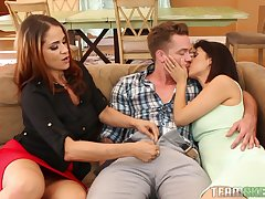 Threesome with Miss Raquel and Penelope Reed is outright for this dude