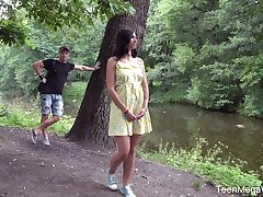 Stranger fucks anus of shy looking teen Henna Ssy and cums in the brush mouth