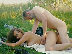 Young beauty student back tatts Alexis Fox is having an affair back old man